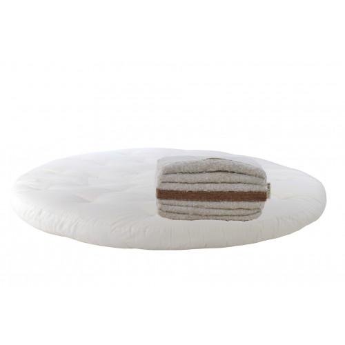 Baumwolle, latexierter Kokos. Runde Matratze Futon Modell 2